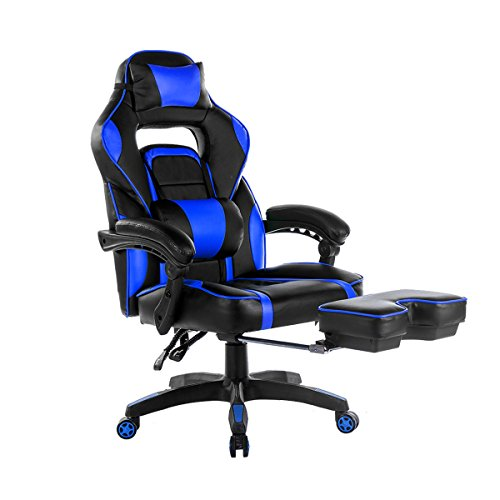 Merax High Back Racing Home Office Chair, Ergonomic Gaming Chair With  Footrest, PU Leather Swivel Computer Home Office Chair Including Headrest  And Lumbar ...