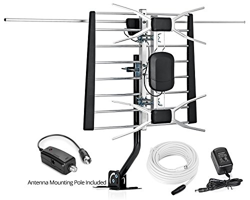 ViewTV WA-2800 Digital Amplified Outdoor / Indoor Attic HDTV Antenna with Mounting Pole - 150 Miles Range