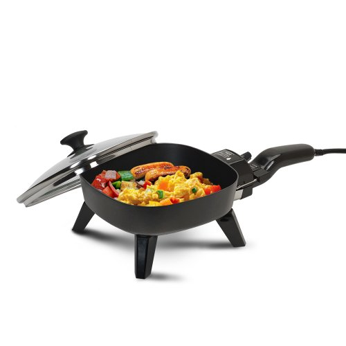 Elite Cuisine Electric Skillet EFS-400 - A 7-Inch Non-Stick Electric Skillet - Come with a Glass Lid