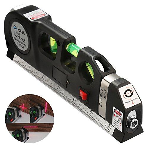 Qooltek Multipurpose Laser Level measure Line 8ft+ Measure Tape Ruler Adjusted Standard and Metric Rulers