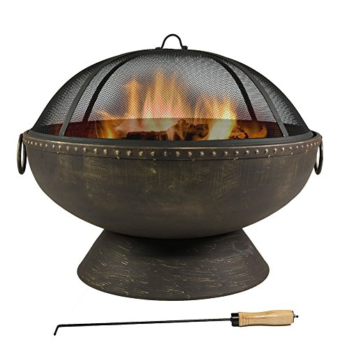 30 Inch Firebowl Fire Pit with Handles and Spark Screen by Sunnydaze