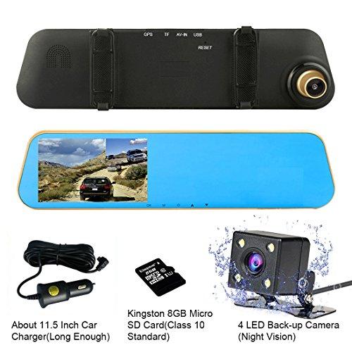 "TENNBOO 4.3"" Full HD 1080P Dual Lens Car Dash Camera"