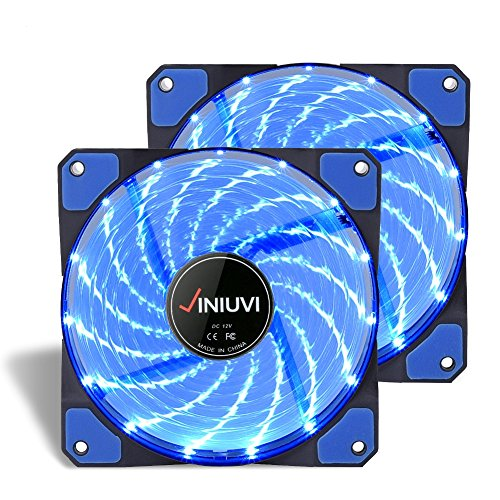 2 Pack Blue LED Case Fans - Reinforced Hydraulic Bearing with 120mm DC 15 LED Illuminating Cooling PC Computer.