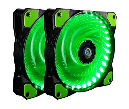CONISY - 2 pack Green 120mm Sleeve Bearing 32 LED Quiet Desktop PC Case Fan