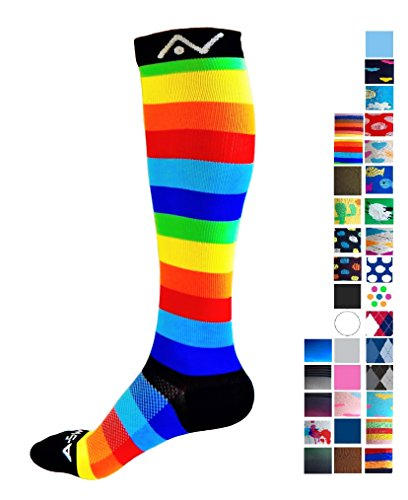 Compression Socks (Fun Patterns 20-30mmHg) Men & Women Running Casual Socks by CompressionZ