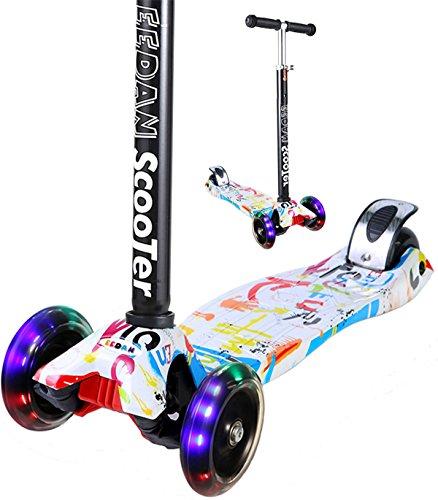 EEDan 3 Wheel T-bar Kick Scooter with Max Glider Flashing Wheels