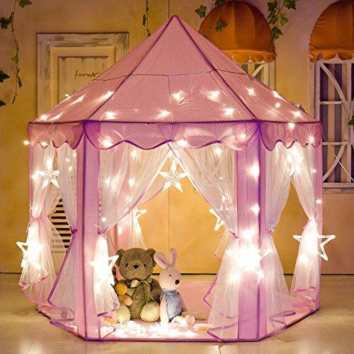 Intime Kids Play Tent Pink Hexagon Princess Castle