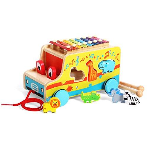 Joyin Toy Wooden Push Pull Along Toy Shape Sorter