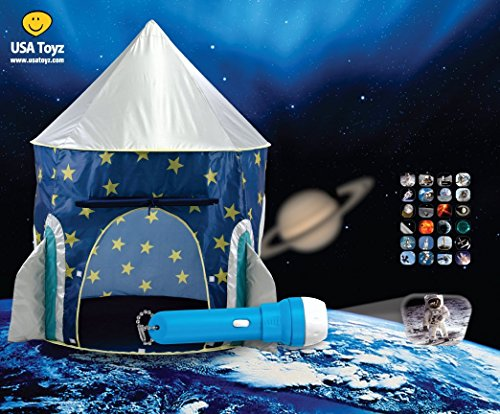 Rocket Ship Play Tent - Spaceship Playhouse for Kids with Space Torch Projector Toy