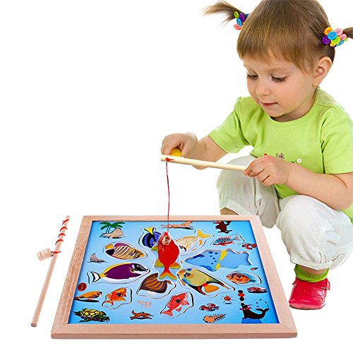 Lewo Magnetic Wooden Puzzle Fishing Game Playset