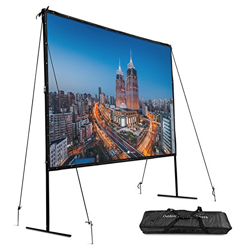 VEVOR Portable Projection Screen 144 Inch 16:9 Indoor and Outdoor Movie Screen with Stand Proejctor Screen with Carrying Bag