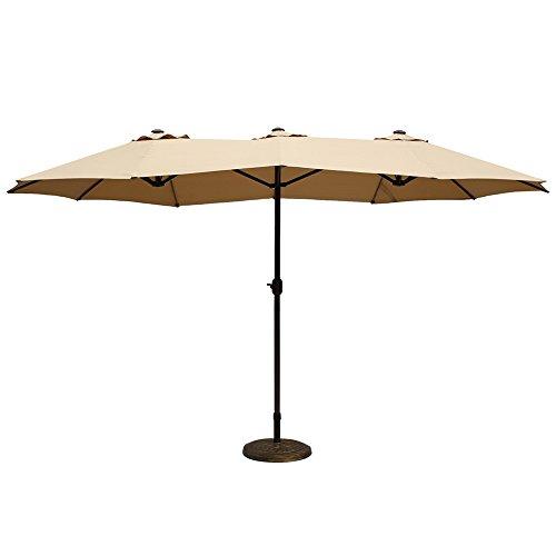 Le Papillon 14 ft Market Outdoor Umbrella Double-Sided Aluminum Table Patio Umbrella with Crank, Beige