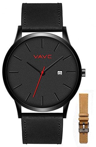 VAVC Men's Black Leather Band - Analog Dress Quartz Wrist Watch