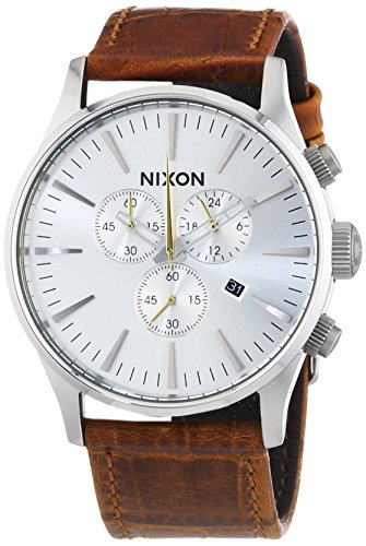 NIXON Men's 'Sentry' Quartz Stainless Steel and Leather Casual Watch