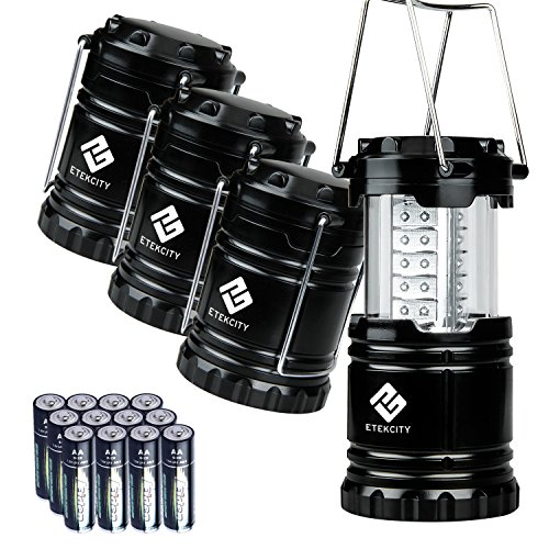 Etekcity 4 Pack Portable LED Camping Lantern with 12 AA Batteries (Black, Collapsible)