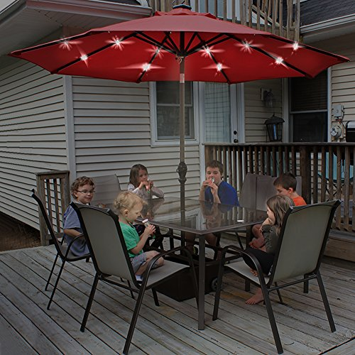 Abba Patio 9u2032 Round Aluminum Solar Powered 24 LED Light Patio Umbrella With  Tilt And Crank, Dark Red