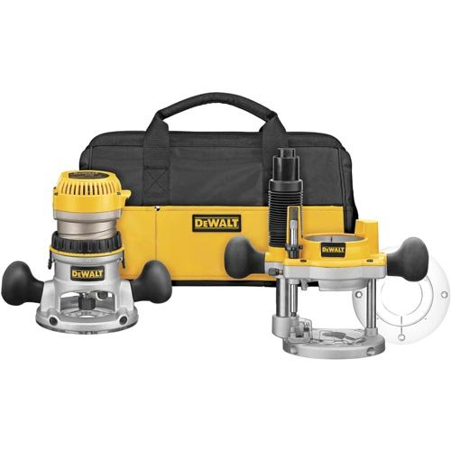 DeWalt DW618PKB 2-1/4 HP EVS Fixed Base Router/Plunge Router Combo Kit with Soft Start