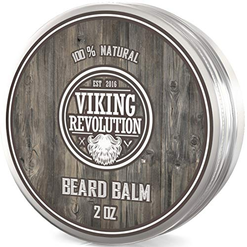Viking Revolution Beard Balm - All Natural Grooming Treatment with Argan Oil, Jojoba Oil & Mango Butter