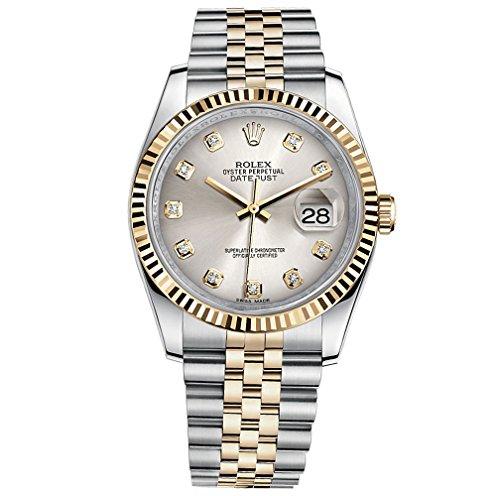 Rolex Datejust 36 Steel Yellow Gold Watch Steel Silver Diamond Dial