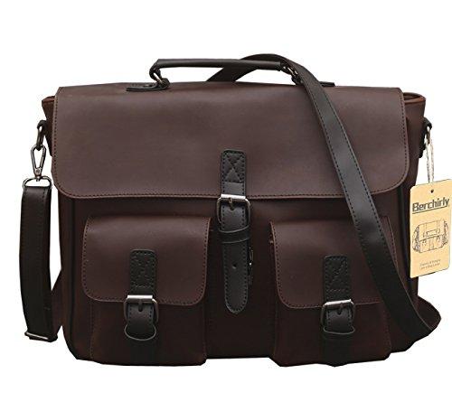 Berchirly Men PU Leather Messenger Shoulder bags