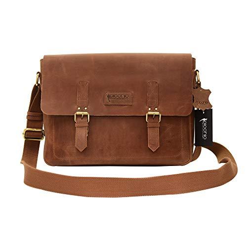 Picchio Men's Genuine Delta Brown Leather Messenger Bag