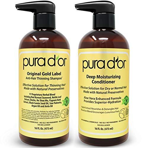 PURA D'OR Biotin Anti-Thinning Deep Moisturizing Gold Label Shampoo & Conditioner Set