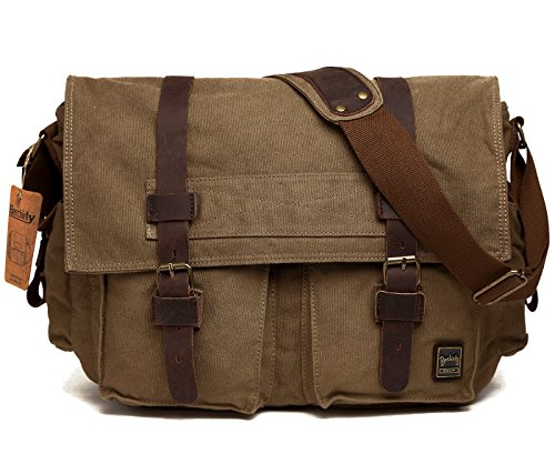 Berchirly Vintage Military Men Canvas Messenger Bag