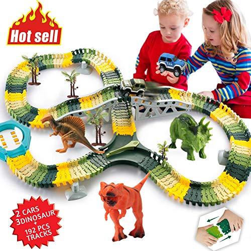 Homofy Dinosaur Toys 192-Piece Race-Car Track