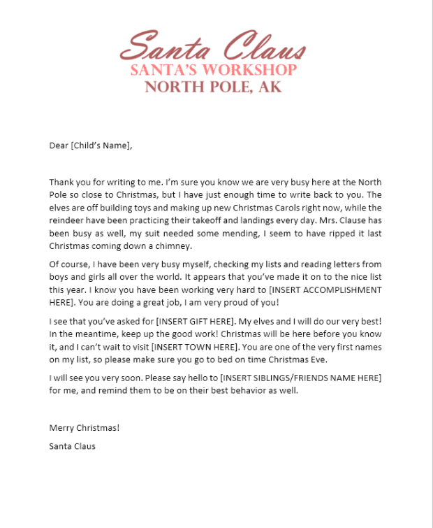 Santa's-Workshop-Letter Official Personal Letter From Santa Template on north pole, writing paper, for office party,
