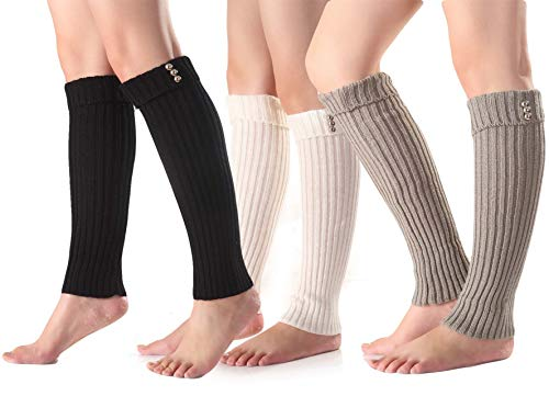 Womens Winter Warm Cable Knit Leg Warmers, 3 Pairs
