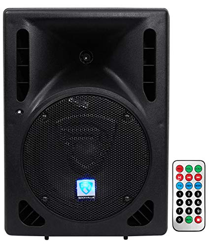 """Rockville RPG8BT 8"""" Inch Powered 400W DJ PA Speaker - BlueTooth Party Speaker with Remote Control"""
