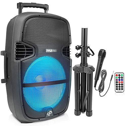 Pyle Portable Bluetooth Speaker System - 1000W Outdoor Bluetooth Speaker Portable PA System - Party Lights, USB SD Card Reader, FM Radio, Wheels - Remote Control, Tripod